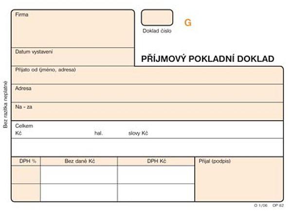 Příjmový pokladní doklad A6 NCR číslovaný (3x25listů)