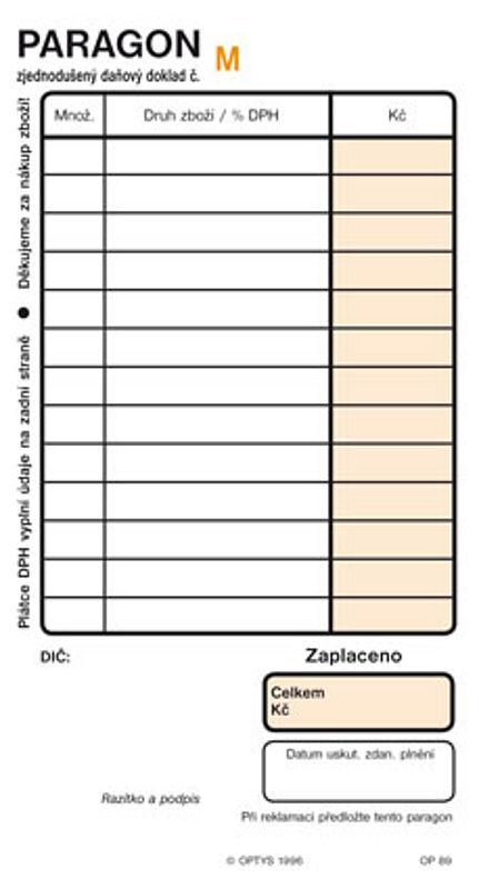 Paragon NCR číslovaný (blok 2x50listů)