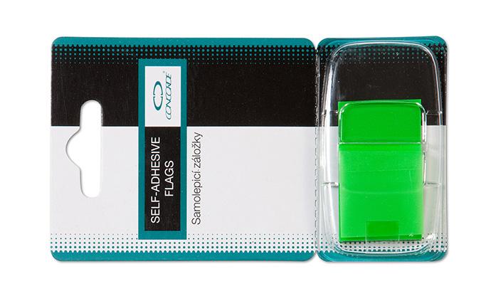 Záložky plastové 25x43mm zelené,50l.