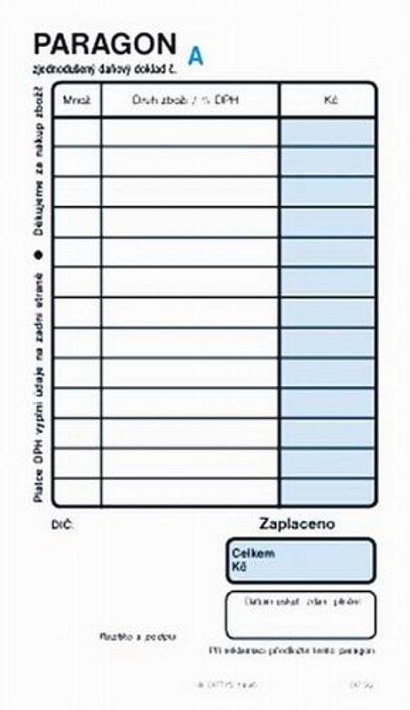 Obchodní paragon číslovaný (blok 2x50listů)