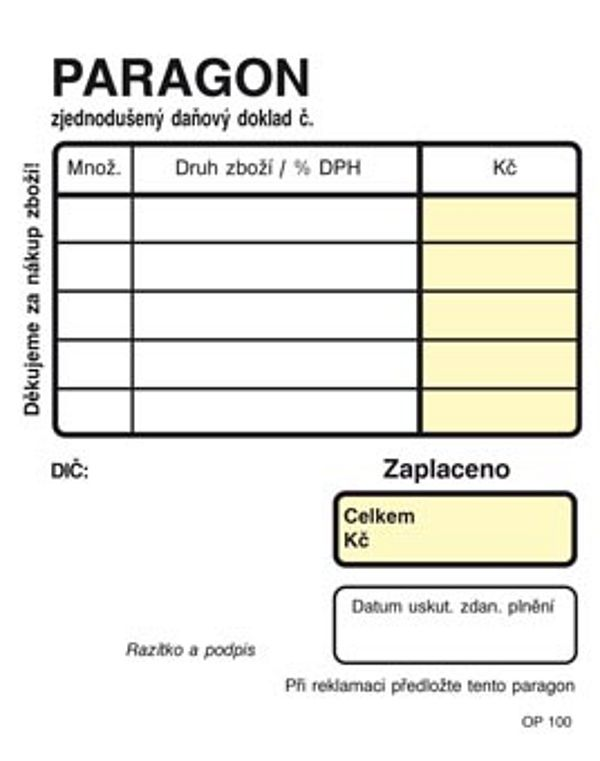Obchodní paragon NCR 7,5x9,5 (100listů)