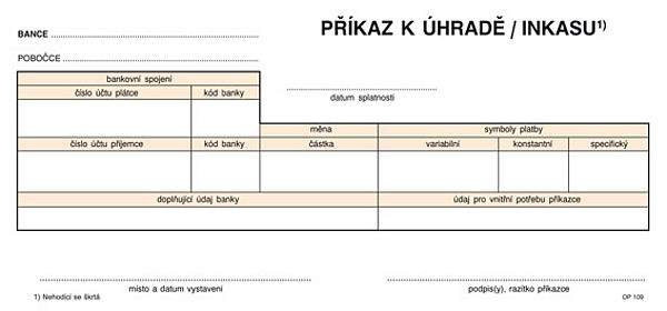 Jednorázový příkaz k úhradě 1/3 A4 NCR (100listů)