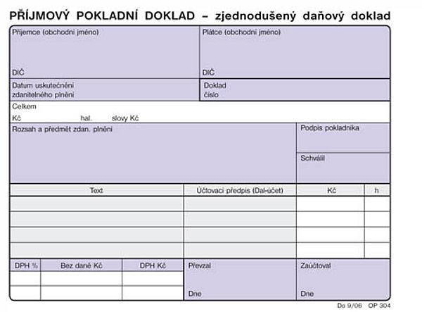 Příjmový pokladní doklad (zjednodušený daňový doklad A6 NCR (100listů)