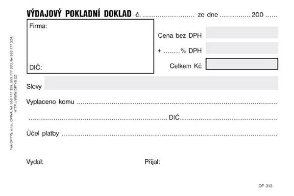 Výdajový jednoduchý pokladní doklad NCR (50listů)