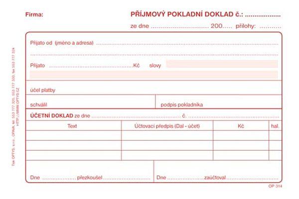 Příjmový pokladní doklad NCR pro podv. Účet (50listů)