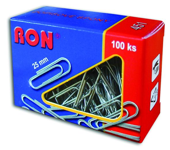 Spony dopisní 451 25mm/100ks RON