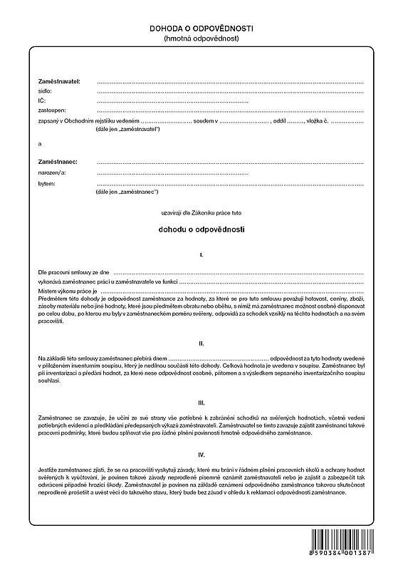 Dohoda o hmotné zodpovědnosti