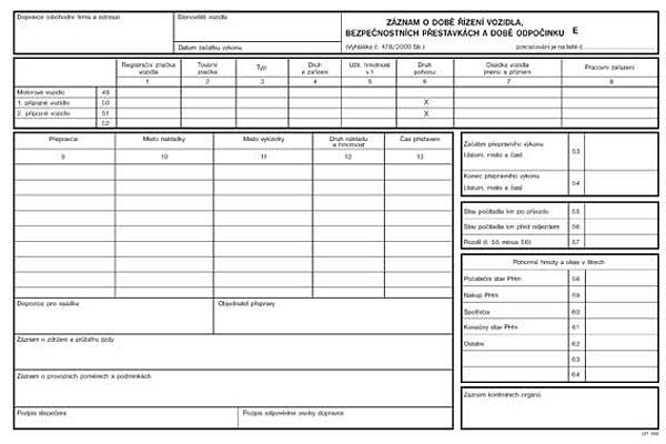 Záznam o době řízení vozidla a bezpečnostních přestávkách číslovaný A4 (100listů)