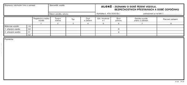 Alonž - Záznam o době řízení vozidla a bezpečnostních přestávkách 30x14 (100listů)