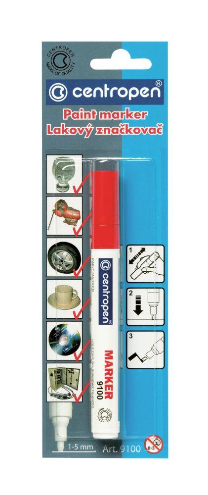 Značkovač 9100 červený lakový 1-5mm