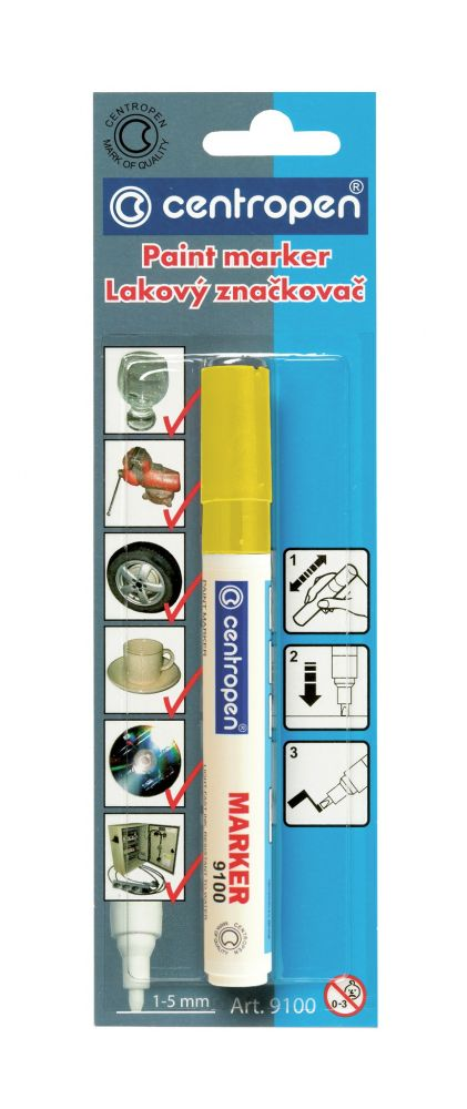 Značkovač 9100 žlutý lakový 1-5mm