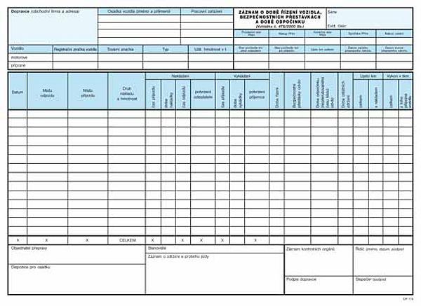 Záznam o době řízení vozidla a bezpečnostních přestávkách karbon A4 (100listů)