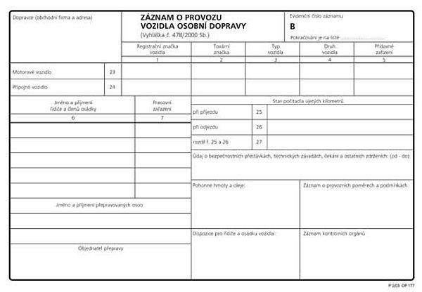 Záznam o provozu osob. voz. číslovaný A5 (100listů)