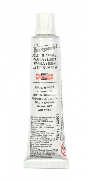 Barva temperová bílá titan.16ml.KIN