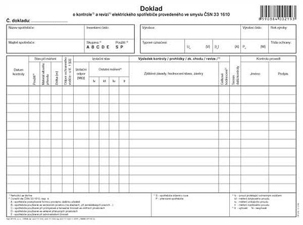Doklad o kontrole a revizi el. Spotřebiče