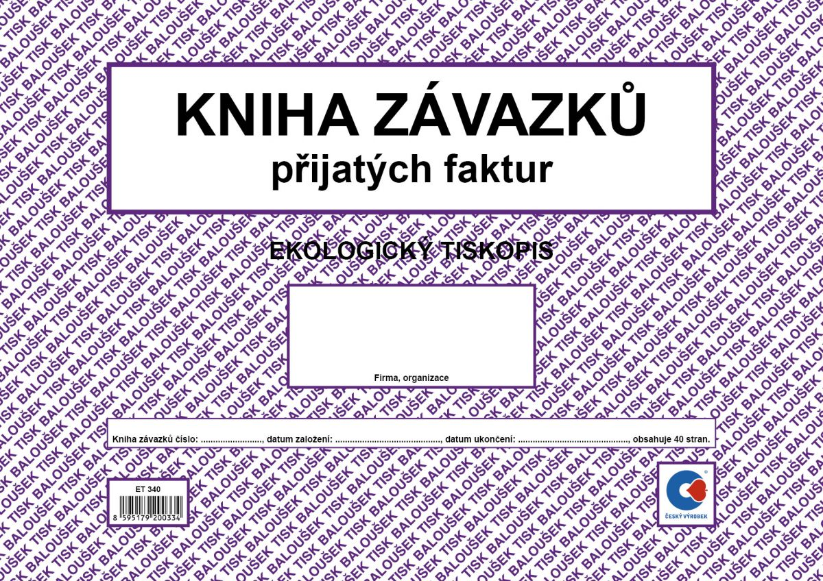 Kniha závazků -došlých faktur ET340 Bal.